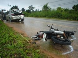 Motorcycle and Car Collision